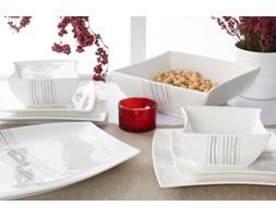 Serwis obiadowy DUO SILVER LINE na 6 osób (20 el.) -- biały szary