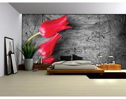 Fototapeta na fizelinie - Trzy czerwone tulipany na szarym drewnie