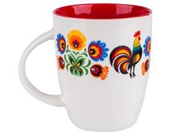 Folkstar - kubek folk design - ludowe kwiatki i koguciki - czerwony