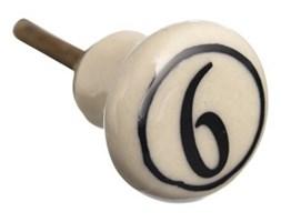 Gałka ceramiczna z cyfrą 6