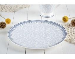 Porcelanowy talerz deserowy DUO KARYNTIA 20,5 cm -- biały niebieski